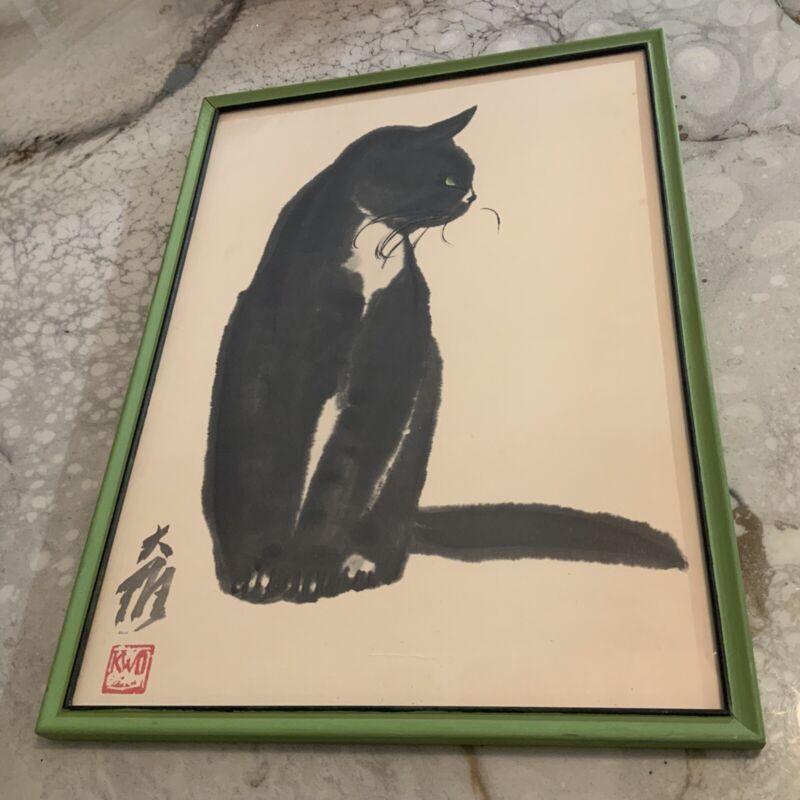 Da Wei Kwo Japanese cat lithograph  Kwo Art Studio New York City Prof Framed