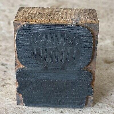 Depression Era Picnic Basket Wood Metal Printer Print Type Block Piece