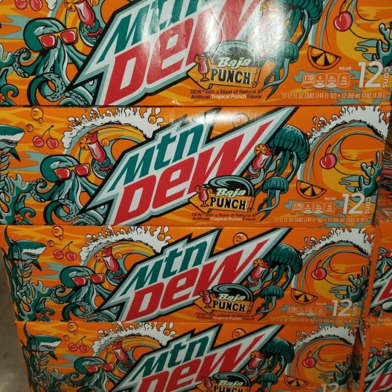 NEW RARE Mountain Dew Baja Punch Soda 12 pack Mtn