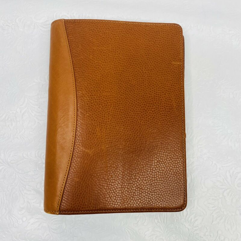 Vintage Levenger Brown Pebbled Leather 6-Ring Address Book 5.75x8 Planner Medium