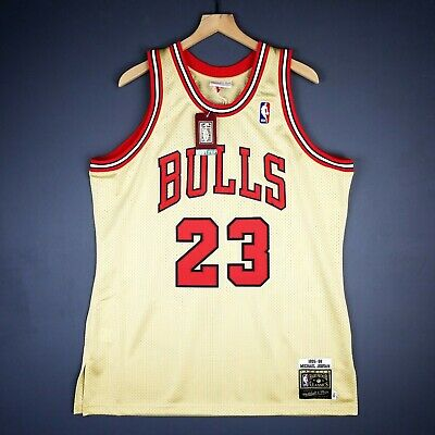 a38af1e3c2f 100% Authentic Michael Jordan Mitchell & Ness 95 96 Gold Jersey Size 48 XL  Mens