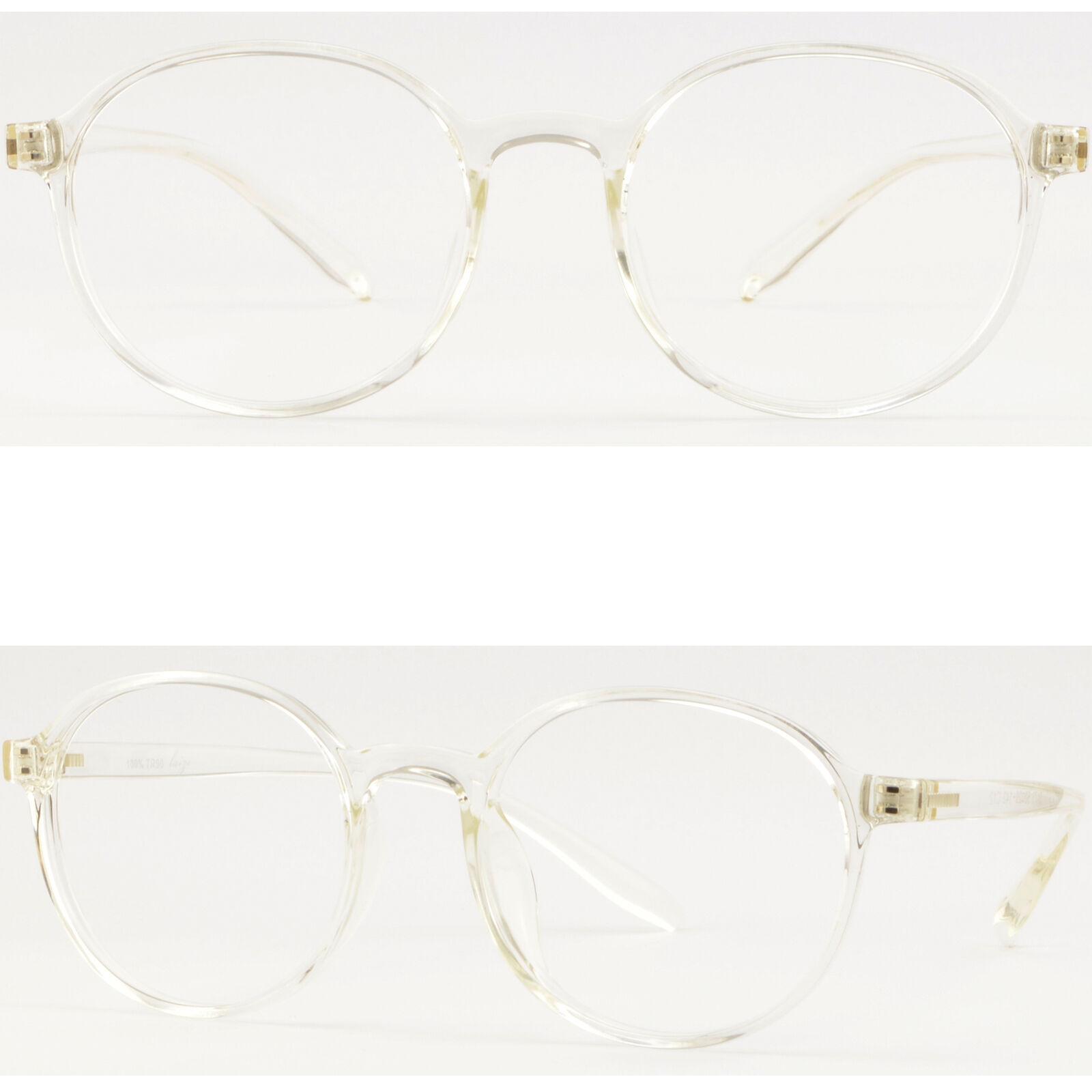 Damen Herren Brille Brillengestell Rund TR90 Clear Gestell Fassung Transparent