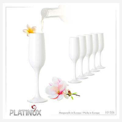 Stabile Weiße Sektgläser Set 6 Teilig Champagnergläser 200ml aus Glas