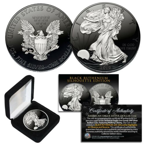 Black RUTHENIUM SILHOUETTE 1 oz .999 Fine Silver 2019 American Eagle with Box