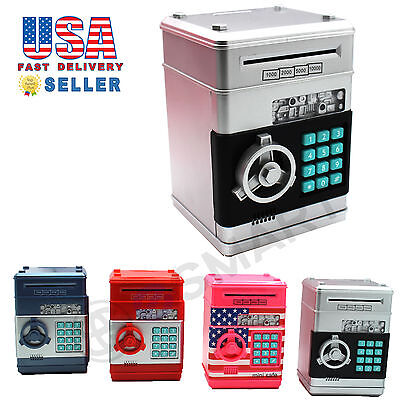 Password Mini Piggy Bank Cash Coins Money Bill Safe Box Lock Sound Battery Power