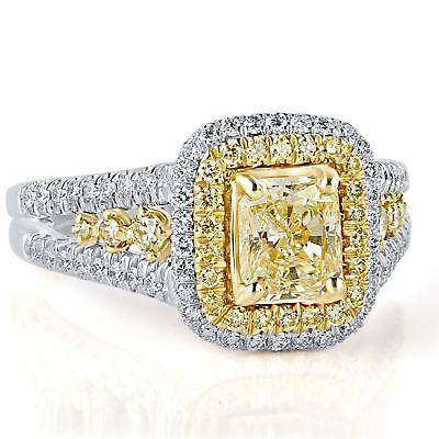GIA  Certified 1.85 Ct Light Yellow Radiant Cut Diamond Engagement Ring 18k Gold