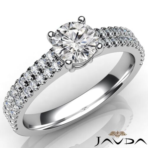 Round U Cut Prong Set Fine Diamond Engagement Ring GIA E VVS2 14k White Gold 1ct