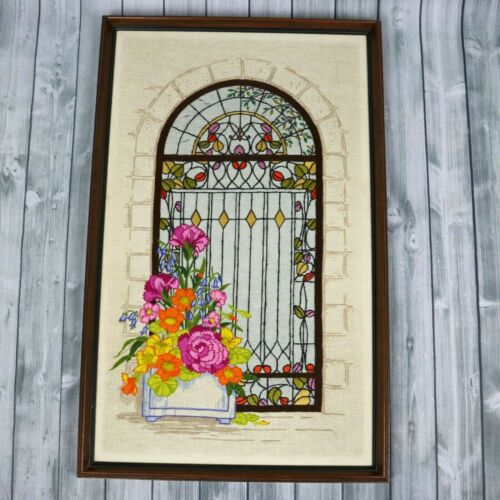 Vintage Crewel Embroidery Floral Framed Picture-1960s-1970s Shabby Chic