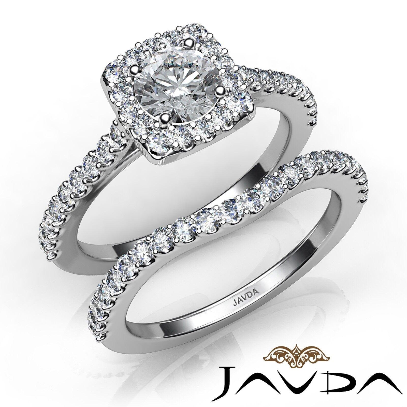 1.53ctw Halo U Prong Bridal Set Round Diamond Engagement Ring GIA J-VS2 W Gold
