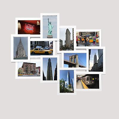 Helsinki weiß Collage Bilderrahmen Kunststoff-Rahmen Fotorahmen 12 Fotos 10x15 (Große Kunststoff-bilderrahmen)