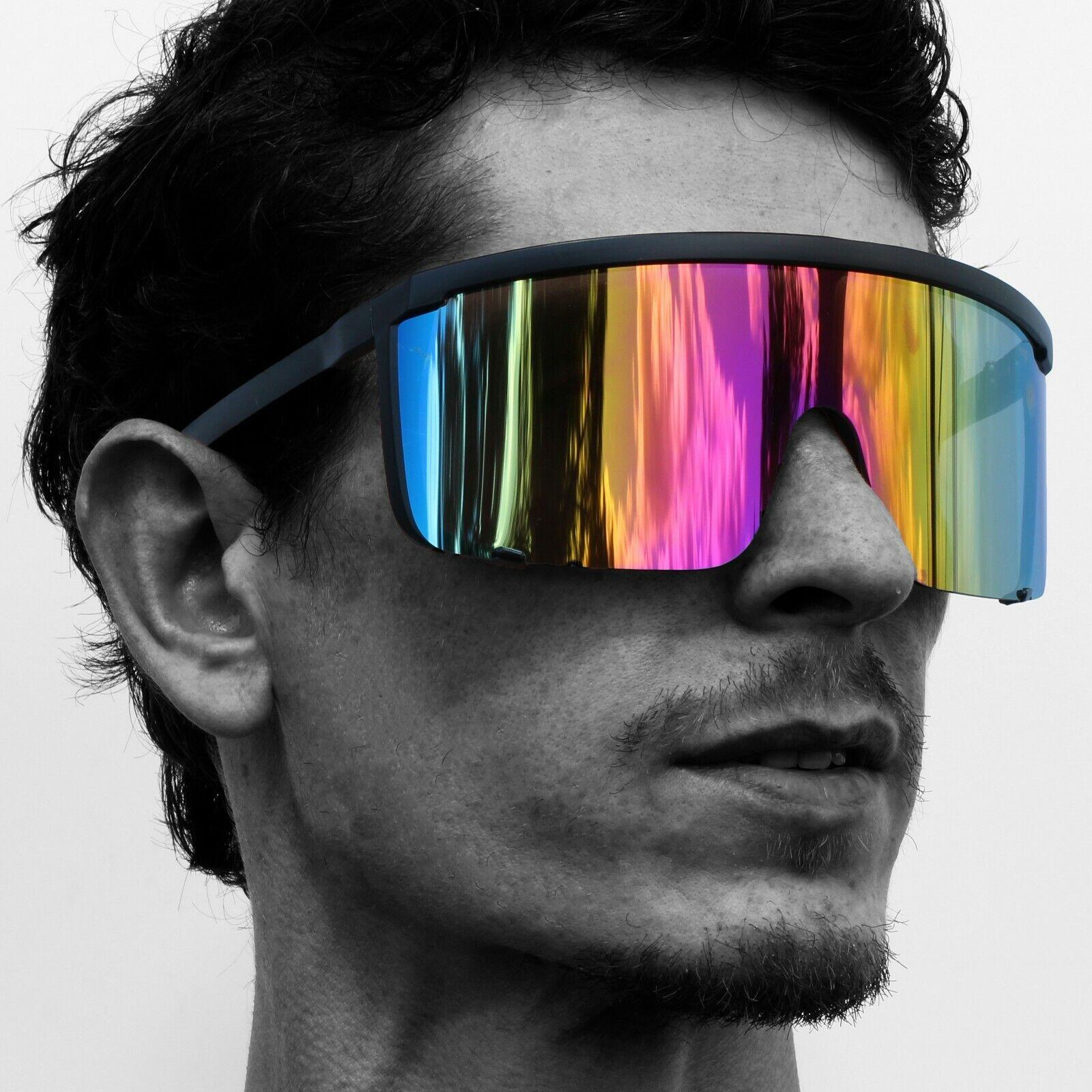 Unisex Oversized Shield Mirrored Lens Sunglasses Retro Flat