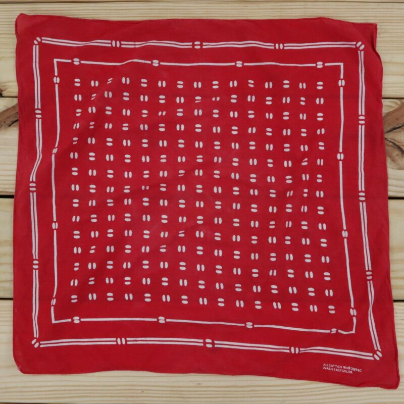 Vintage Red Bandana Beans 100% All Cotton Wash Fast Color Made in USA 20x21
