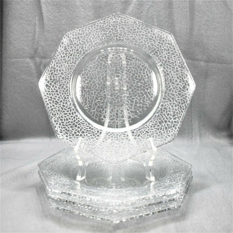 Set of 4   Smith Glass   By Cracky   Clear   Octagonal Salad Plates
