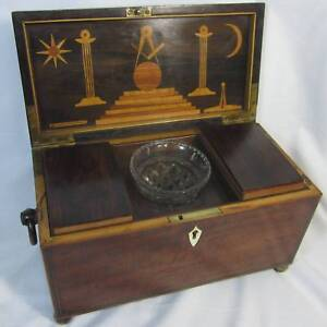 ANTIQUE TEA CADDY WITH MASONIC DECORATION