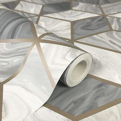 Mármol Geométrico Pintado Gris 248975 Por Rasch - Metálico 3D Cubos Diamantes