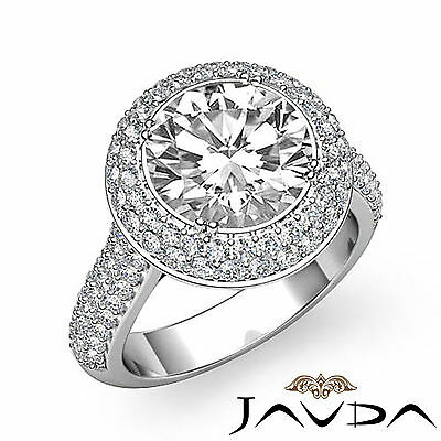 3 Row Shank Double Halo Round Diamond Engagement Ring GIA F SI1 Clarity 2.5 Ct 1