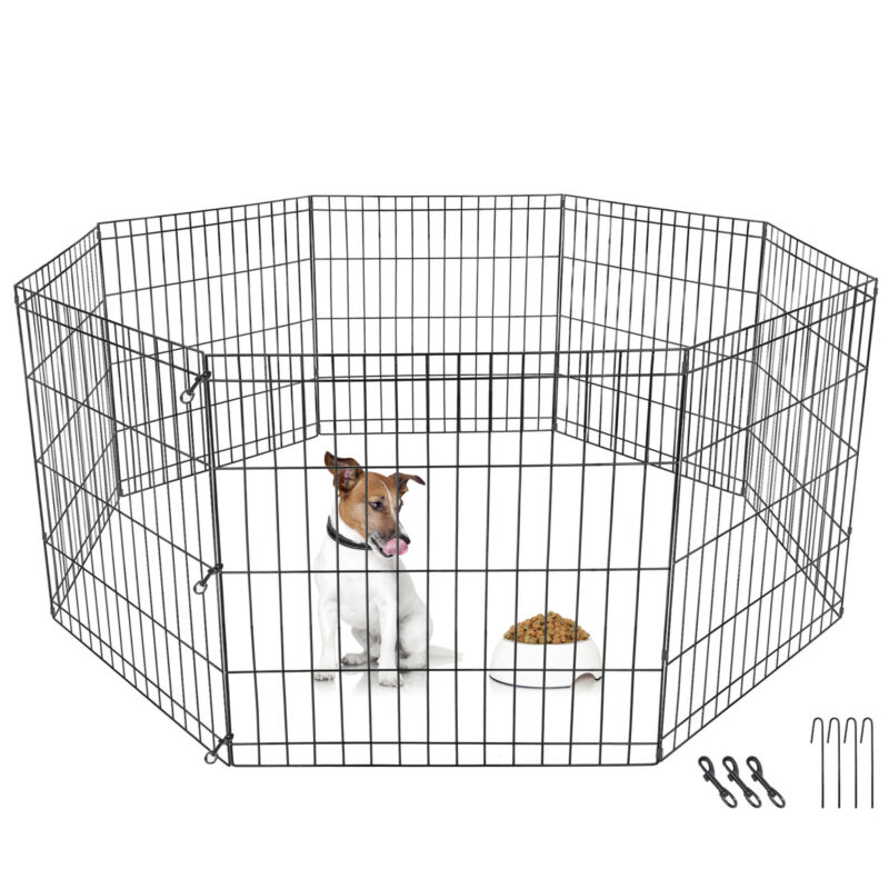 "8 Panel Pet Playpen Metal Protable Folding Animal Exercise Dog Fence 24"" Kennel"