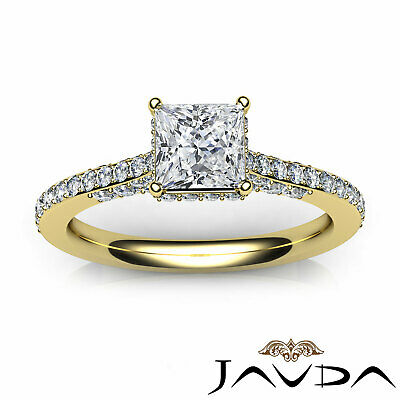 Circa Halo Bridge Accent Princess Diamond Engagement Ring GIA F Color VS1 1.15Ct 10