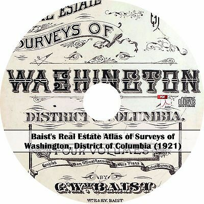 1921 Baist's Real Estate Atlas of Surveys of Washington DC {4 Vols} Maps on DVD