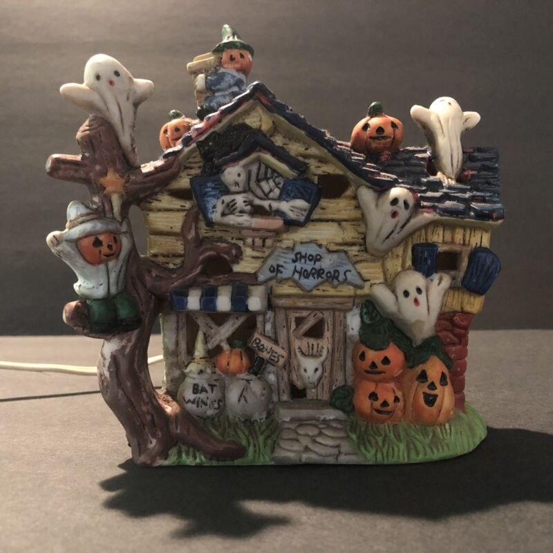 Spooky Hollow Porcelain Light Up Shop Of Horrors Haunted House Halloween Ghost