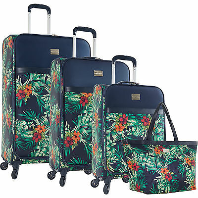 TOMMY BAHAMA ST KITTS PRINTED FLORAL 4 PIECE SPINNER LUGGAGE SET $1280 VALUE