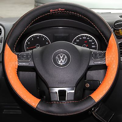 Stitch On Style Steering Wheel Skin Wrap Cover Orange & Black Best Fit &