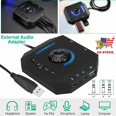 7.1 Channel External USB Sound Card Audio Mulitport Adapter 3.5mm For Laptop PC