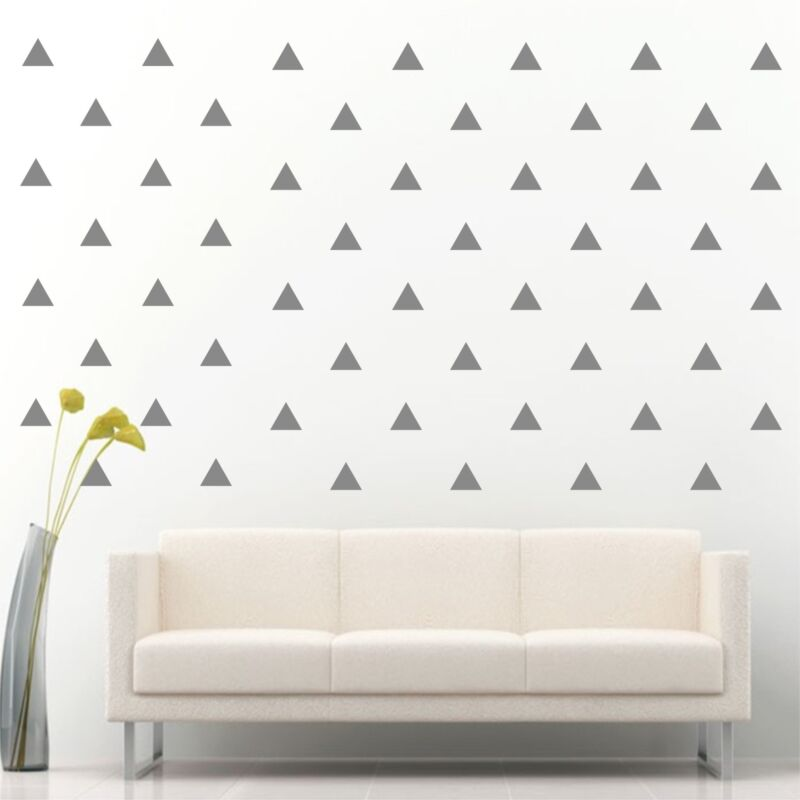 """96 of 3"""" Silver Triangle Removable Peel & Stick Wall Vinyl Decal Sticker"""