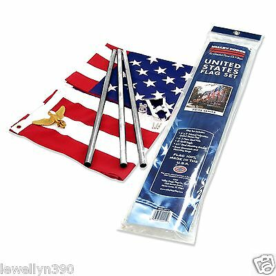 Valley Forge US FLAG 3' X 5' American USA Flag Set Kit WITH POLE & MOUNT NEW!