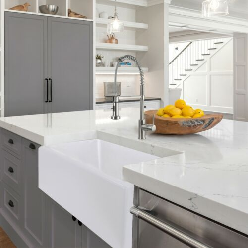 "33"" Granite Composite Farmhouse Kitchen Sink - WHITE"