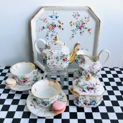 19th Century Vieux Paris Old Paris Porcelain Hand enameled floral tea set forTwo