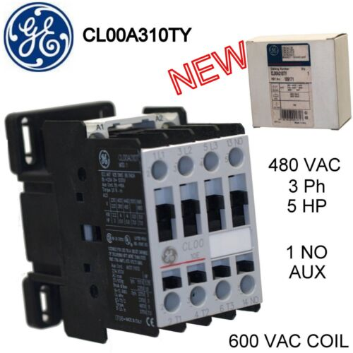 General Electric  Magnetic Contactors, CL00A310TY,  5 HP 600VAC Coil New