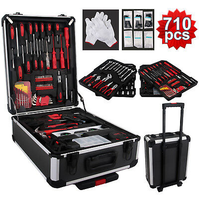 710 pcs Standard Metric Mechanics Kit Tool Set Case Box Organize Castors Trolley
