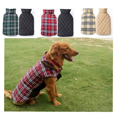 Best Warm Waterproof Jacket Plaid Cotton Reversible Winter Coat Cloth For Pet