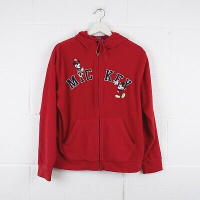 Vintage DISNEY MICKEY Red Zip Up Hoodie Jacket Size Womens Small /R44020