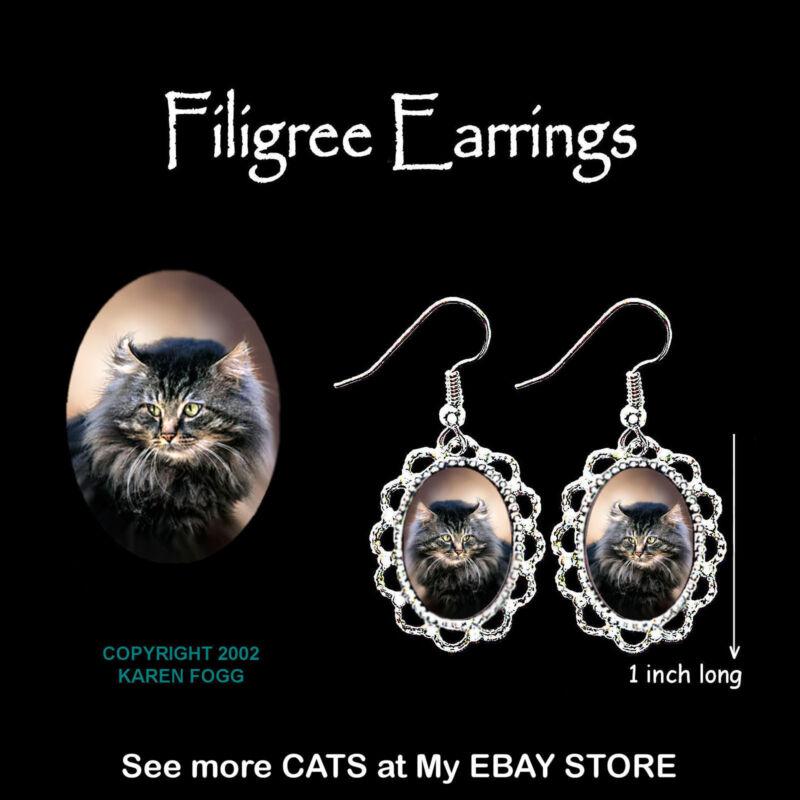 MAINE COON Cat - SILVER FILIGREE EARRINGS Jewelry