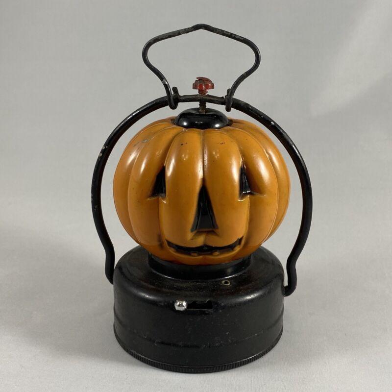 Vintage Halloween JOL Pumpkin 2 Sided Glass Lantern Trade Mark U Hong Kong