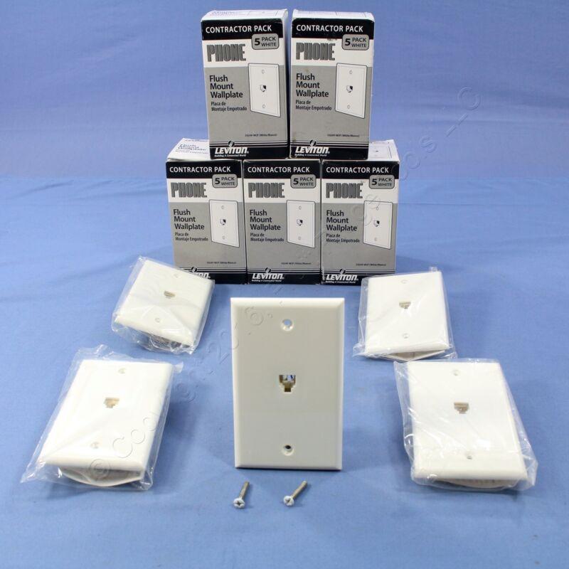30 NIP Leviton White 4-Wire Phone Jack Wallplates RJ11 Modular Telephone C0249-W