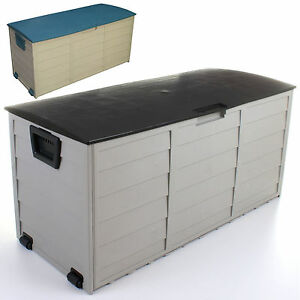 garden storage chest cushion box utility shed plastic large waterproof 2 colours ebay. Black Bedroom Furniture Sets. Home Design Ideas