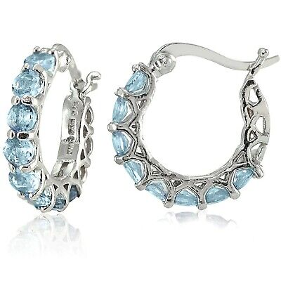 Sterling Silver Oval Blue Topaz and Diamond Accent Hoop Earrings 0.85
