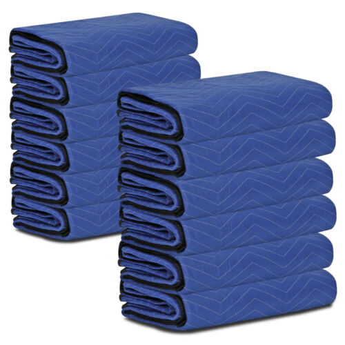 12 Pack Moving Blankets 80″ x 72″ Pro Economy Blue Shipping Furniture Pads Business & Industrial
