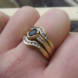 9ct Gold, Natural Sapphire with Diamonds set (3 Rings)