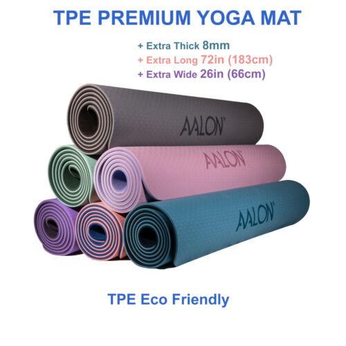 "TPE Premium Yoga Mat 8MM Thick 72""L x 26""W Eco-Friendly Non-Slip + Carry Strap"