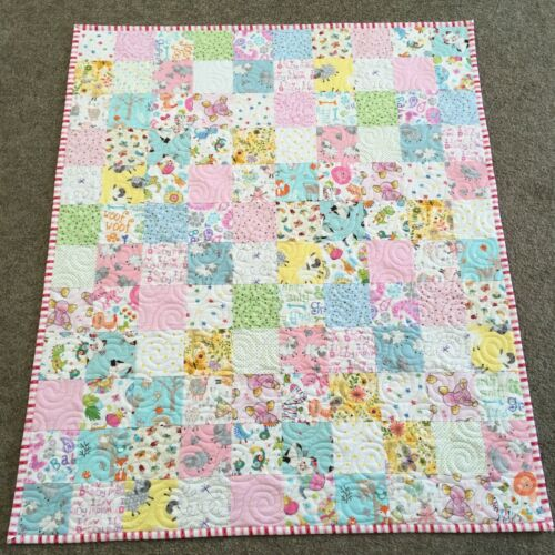New Handmade Baby Girl or Toddler Quilt-Flannel Animals