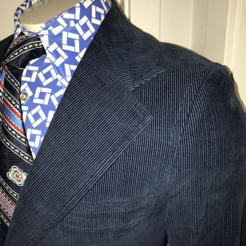 Vtg 60s 70s CORDUROY Suit Jacket NAVY Cord Blazer Sport Coat disco MENS SMALL