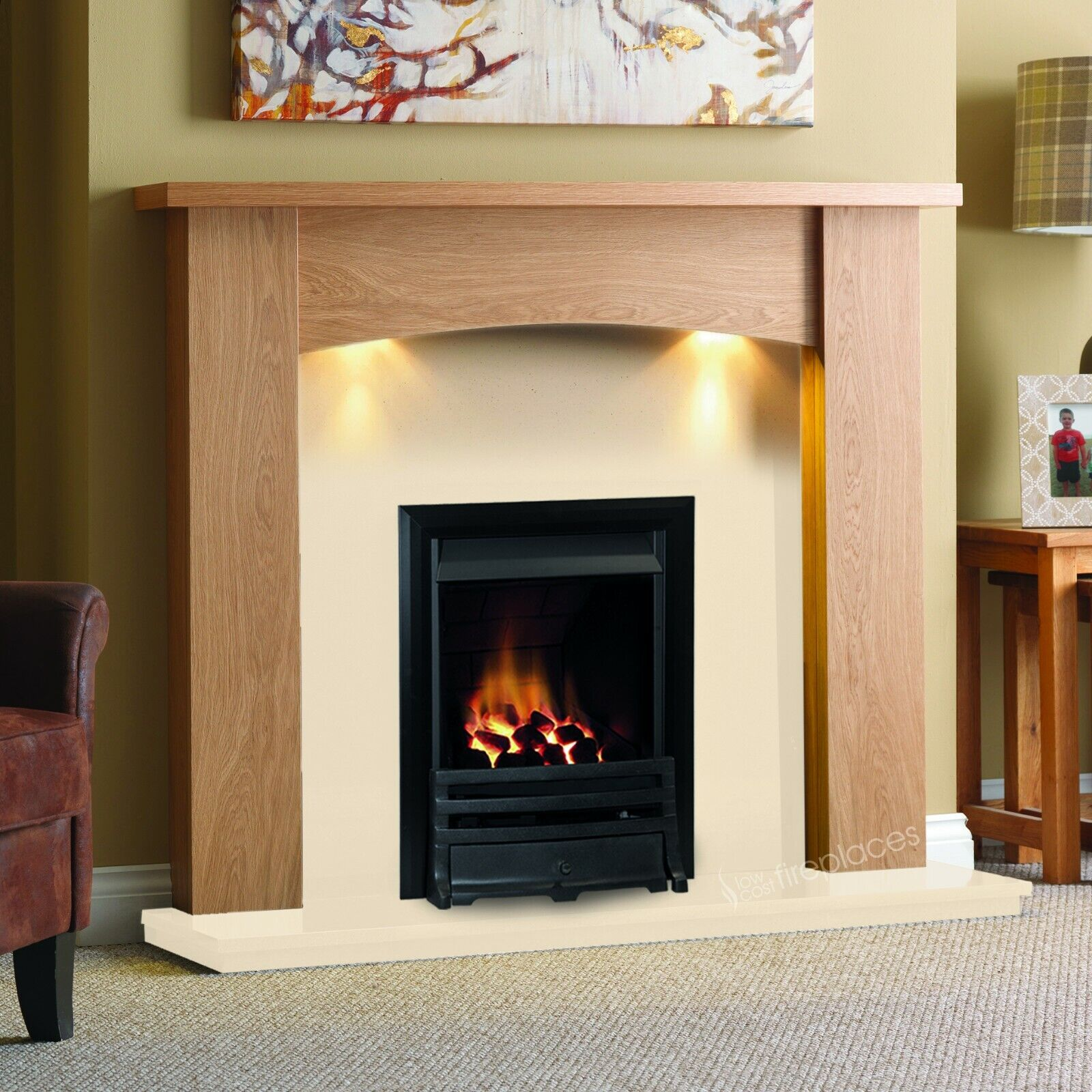 Gas Oak Surround Cream Marble Modern Black Fire Fireplace Suite Lights Large 54 Ebay