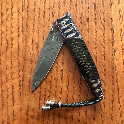WILLIAM HENRY KNIFE B30 INDIGO SKY WAVE MOKUME DAMASCUS RETAIL $1450