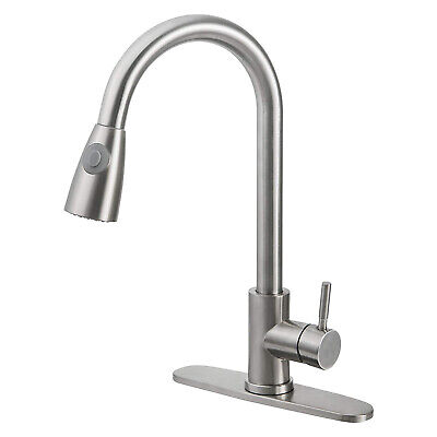 Stainless Steel Kitchen Faucet Single Handle Single Level with Pull down Sprayer