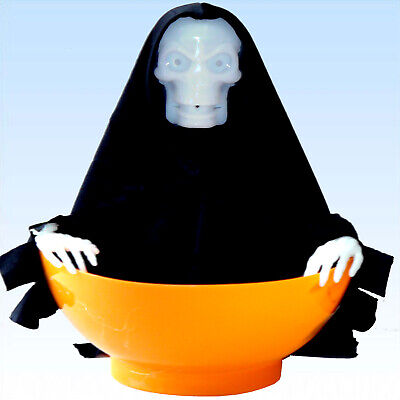 Süßigkeitenschale mit schimpfender Hexe + Bewegungsmelder Deko Halloween Schale