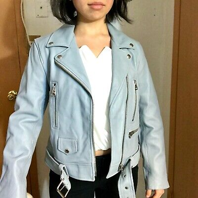 38/6 Acne Studios Mock Perfecto Leather Moto Biker Jacket Sky Light Baby Blue